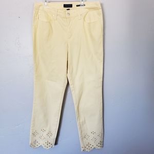 Charter Club Jeans - Charter Club Light Yellow Jeans Eyelet Lace Hem